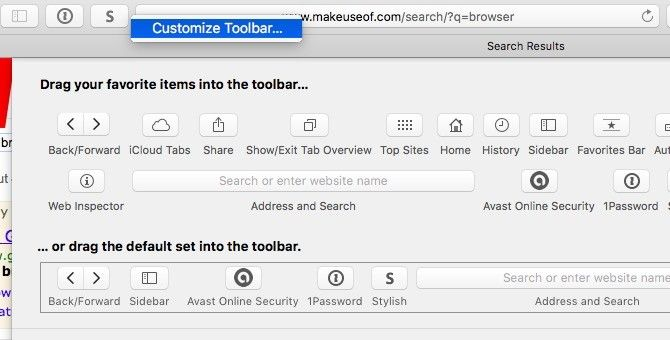 Safari Customize Toolbar