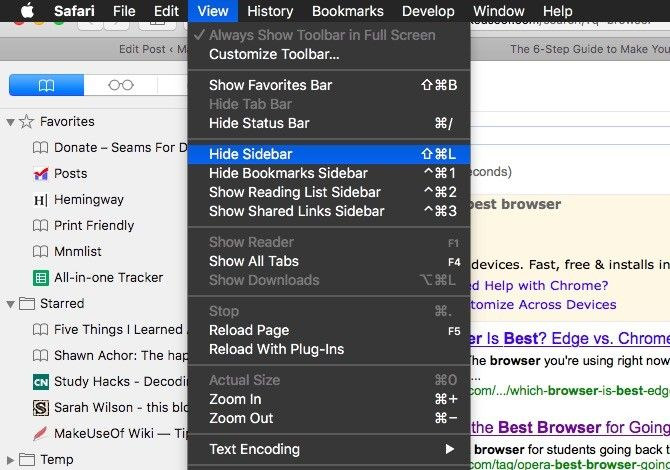 Safari Hide Sidebar
