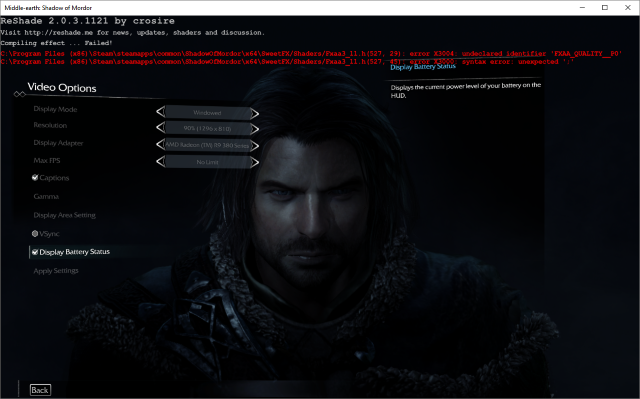 SweetFX Shadow of Mordor Troubleshooting