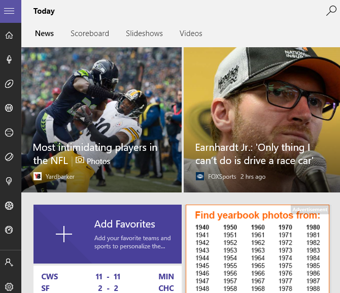 Windows 10 Sports App