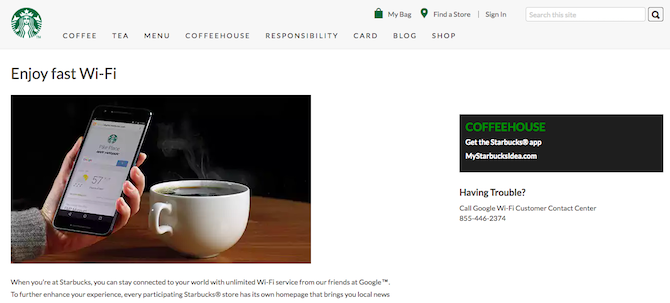 Starbucks Wi-Fi Promotion Page
