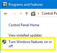 Programs and Features -- Turn Features On or Off