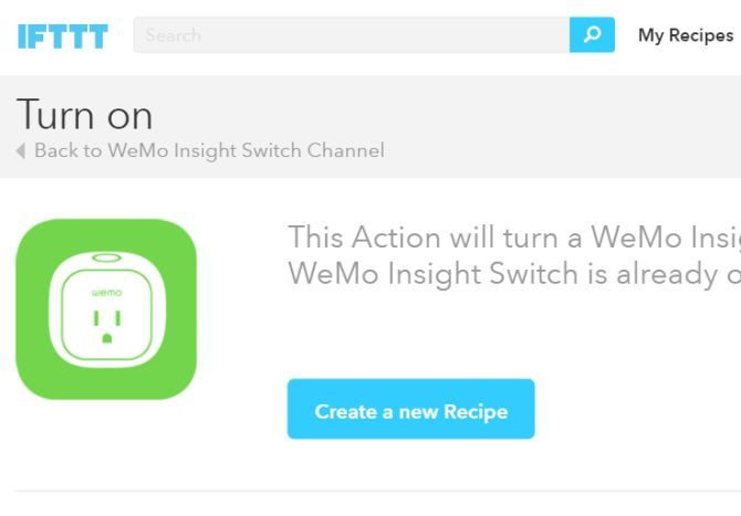 WeMo Maker IFTTT Recipe Enable Switch