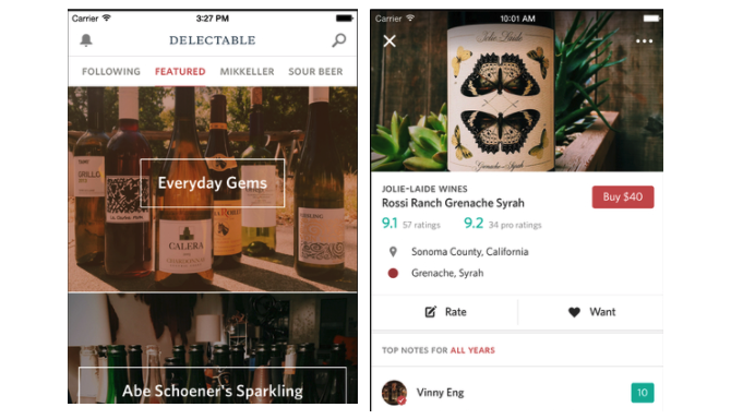 iOS Apps Delectable Wines