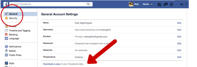 Facebook Tricks and Features -- Download Data