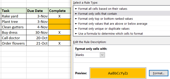 Excel Conditional Formatting -- Home Tasks