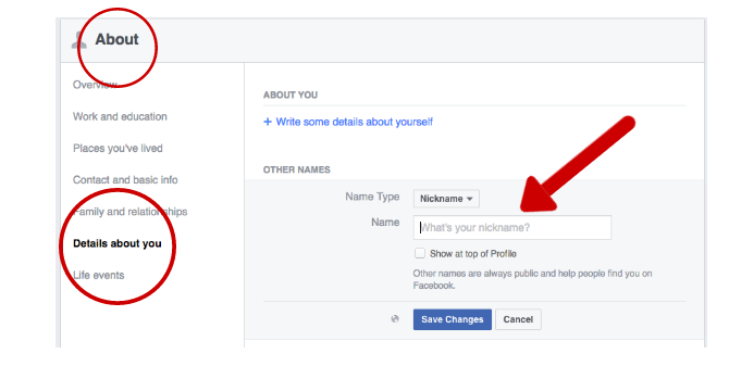 Facebook Tricks and Features -- Nickname