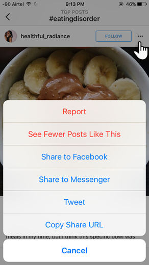 Instagram Report Button