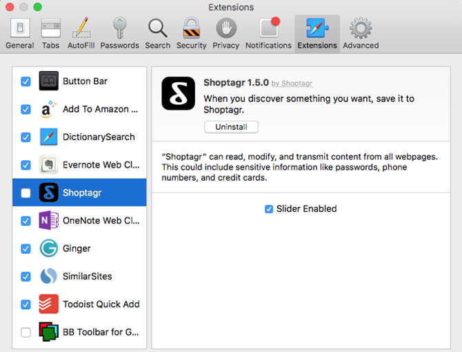 Safari Extensions Manager