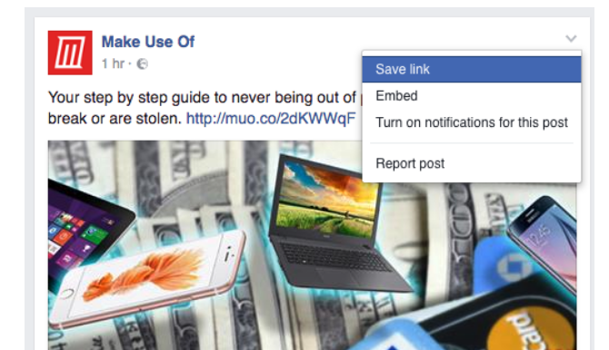 Facebook Tricks and Features -- Save Post