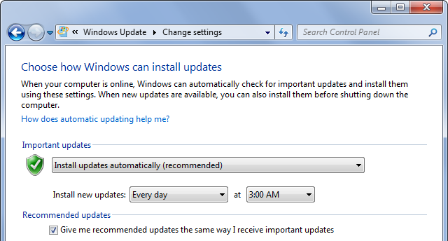 Windows Update Important and Recommended