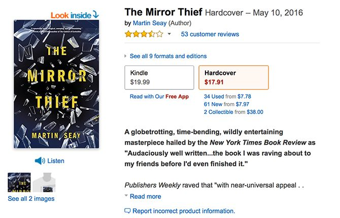 Mirror Thief on Amazon Book Listing