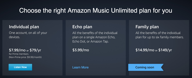 Amazon Music Unlimited Pricing
