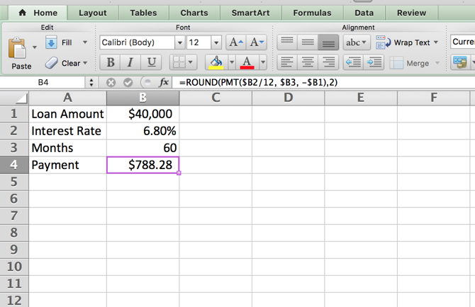 Excel Amortization Schedule -- First Steps