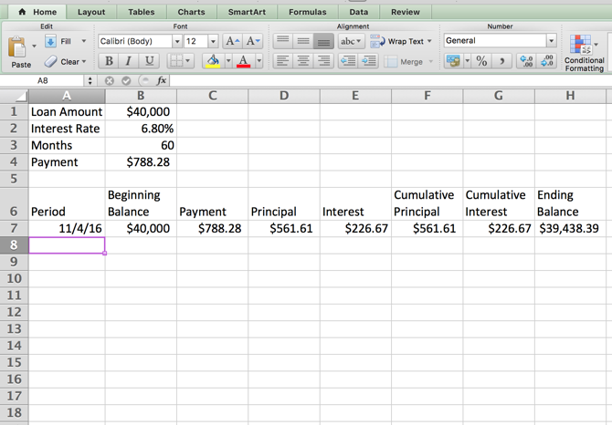 Excel Amortization Schedule -- Table First Row