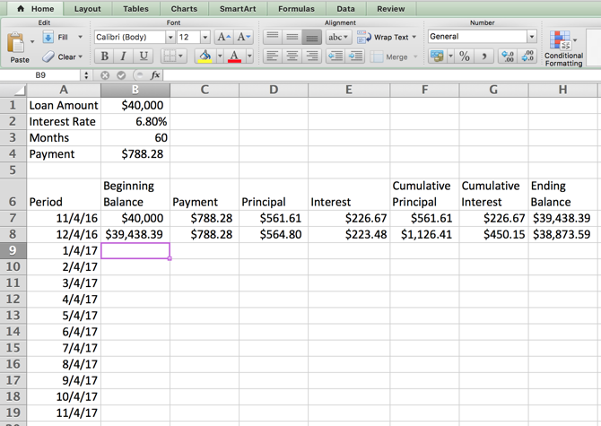 Excel Amortization Schedule -- Table Second Row