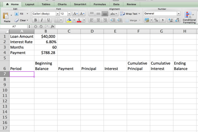 excel amortization schedule categories