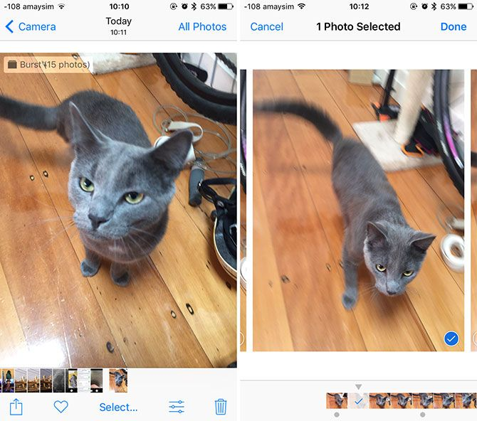 iPhone Burst Mode Comparison