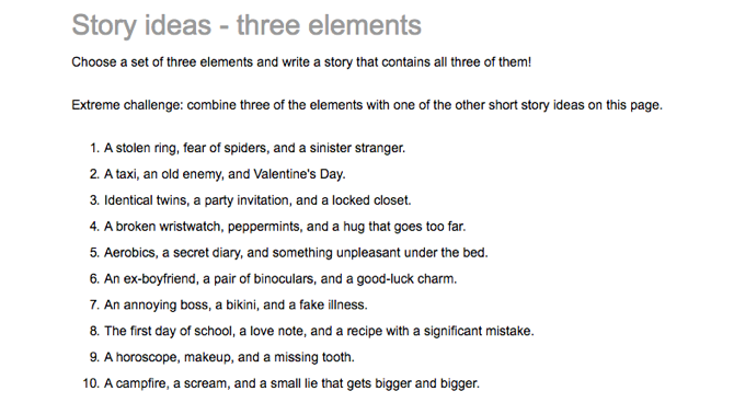 Creative Writing Story Ideas 3 Elements