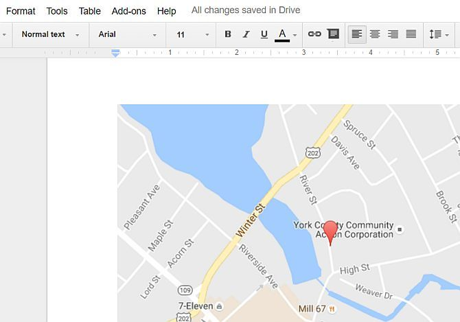 Map Embedded Into Google Docs