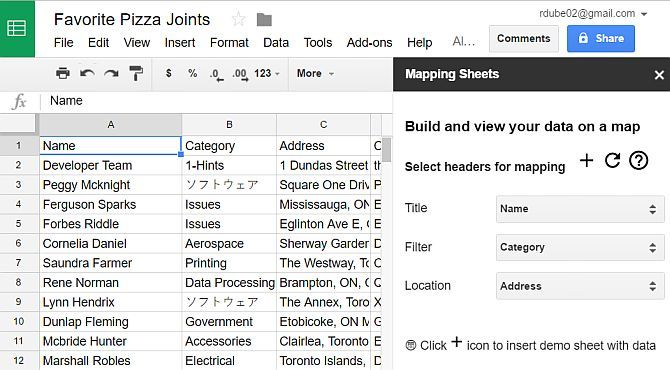 View Google Sheets Data on Maps