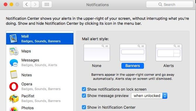 Mac Mail -- Banner Notifications