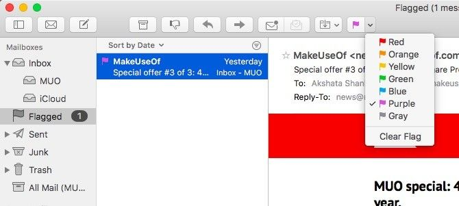Mac Mail -- Flagged Email