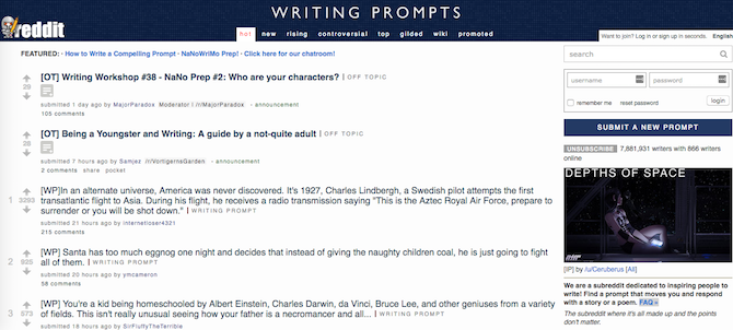 NaNoWriMo Prep Reddit Writing Prompts