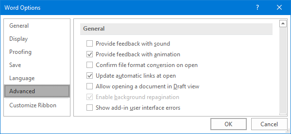 Microsoft Word -- Options