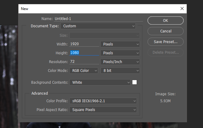 New Project Settings in Photoshop