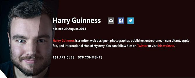 MakeUseOf Harry Guinness Author Page