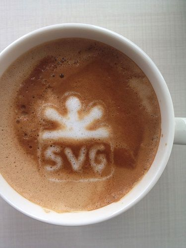 SVG Spelled in Coffee Foam
