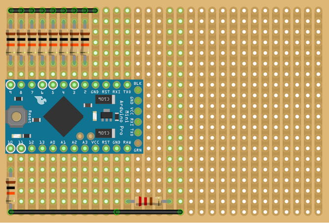 Arduino Shortcut Stripboard