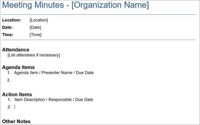 minutes of the meeting sample format
