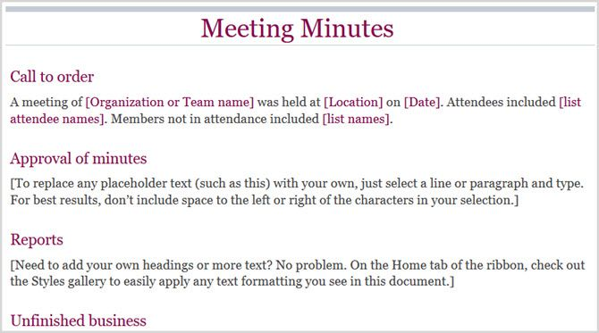 basic meeting minutes word online 1