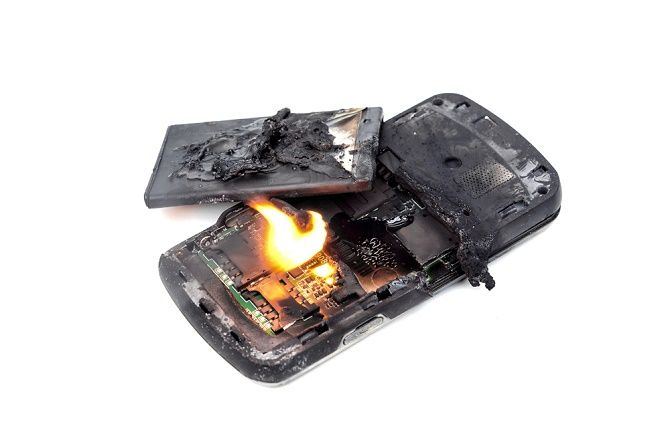 Burnt out smartphone