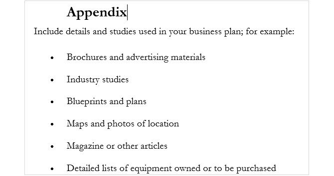 How to write a business plan appendix appendices similar to the table of contents accmission Images