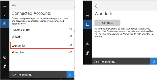 cortana connect wunderlist steps