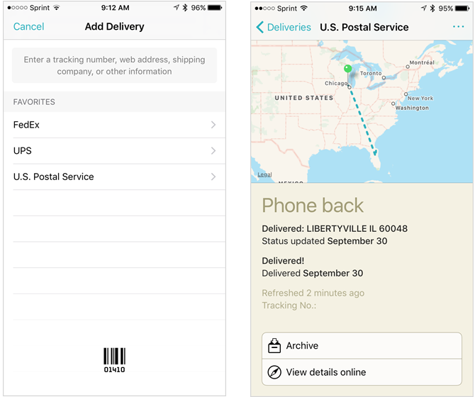 deliveries track iphone app