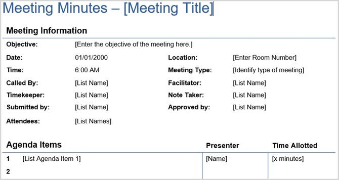 minute format for meetings
