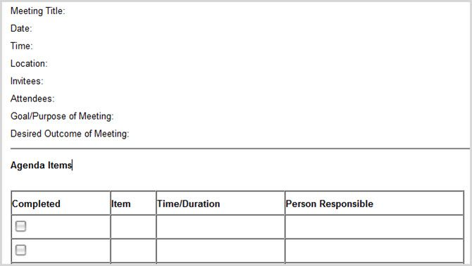 minutes templates for meetings