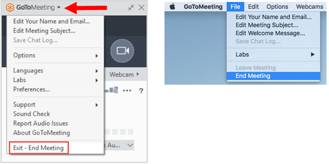 GoToMeeting -- End Meeting
