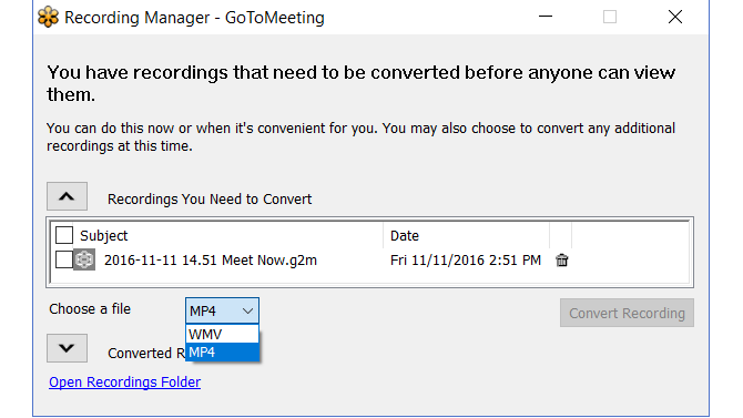 GoToMeeting -- Recording Convert File