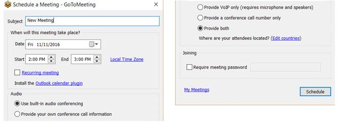 GoToMeeting -- Schedule Desktop