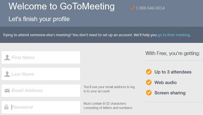 GoToMeeting -- Signup