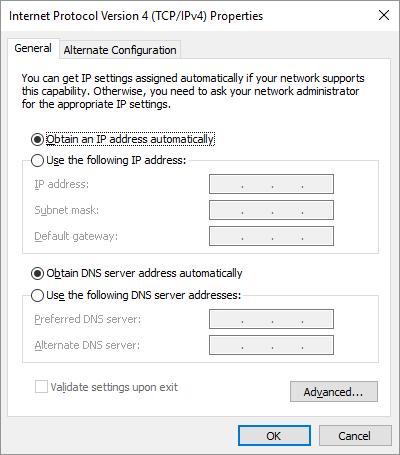 IP версия 4 Windows