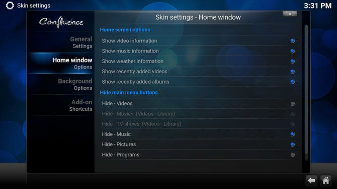 Kodi Home Window