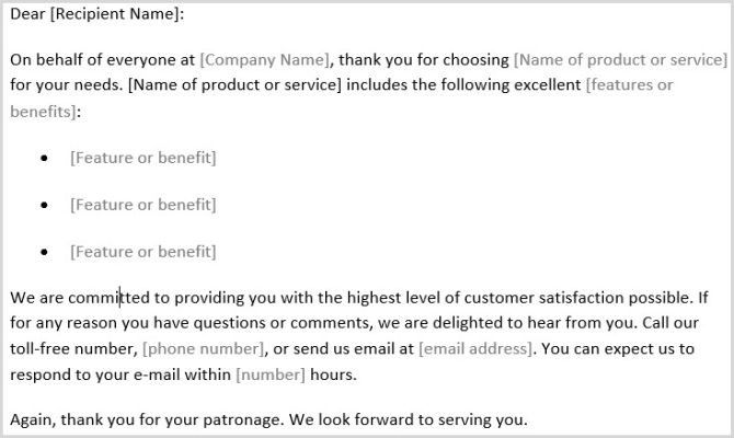 Thank Customer Letter Template Word