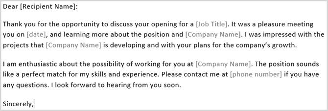 Thank Interview Letter Template Word