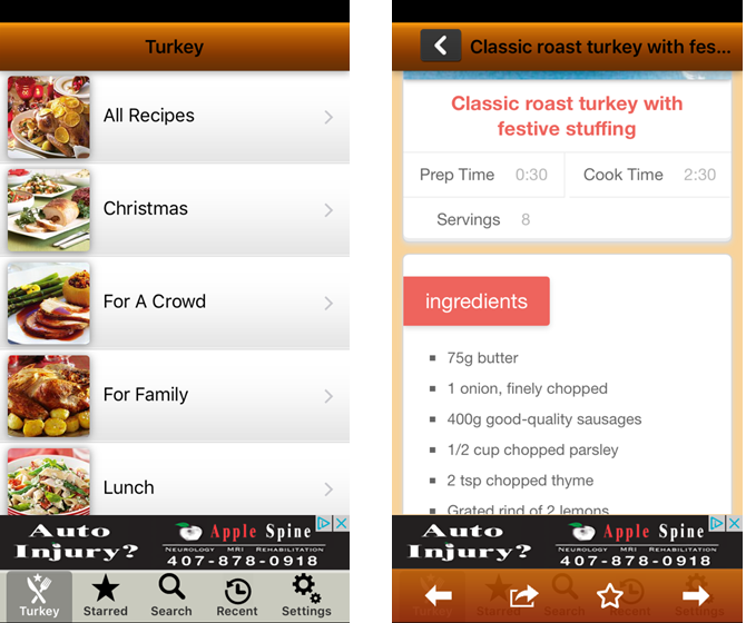 Thanksgiving Turkey Recipes iPhone
